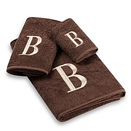 Avanti Premier Ivory Block Monogram Bath Towel Collection in Mocha