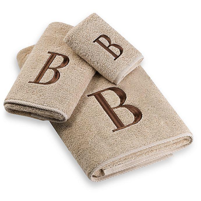 Alternate image 1 for Avanti Premier Brown Block Monogram Bath Towel in Linen