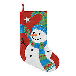 Hand-Hooked 20-Inch Festive Frosty Christmas Stocking