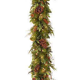 National Tree Company Decorative Collection 6-Foot Juniper Mix Pine Pre-Lit Garland with LED Lights