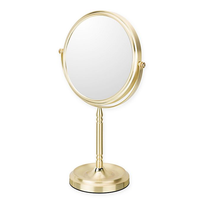 Alternate image 1 for 1X/5X Makeup Mirror in Brushed Brass