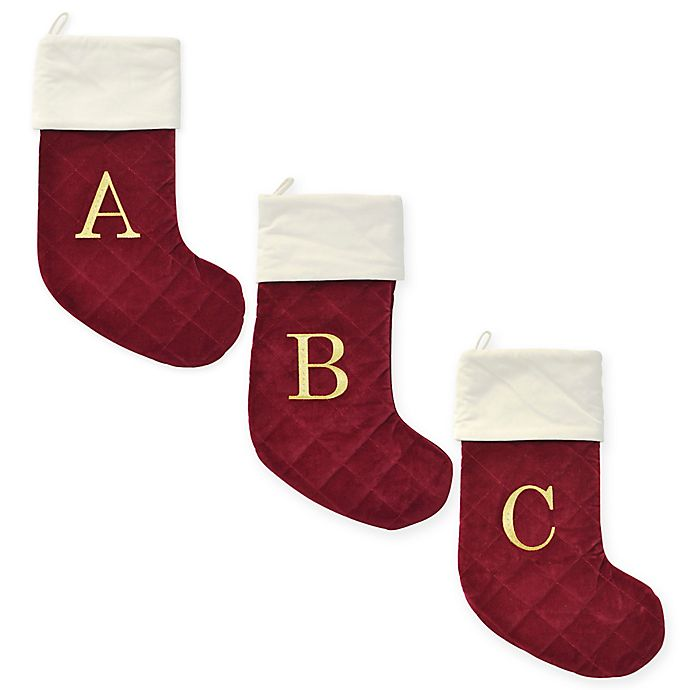 Alternate image 1 for Harvey Lewis™ Thick Quilted Velvet Monogram Christmas Stocking w/Crystals from Swarovski®