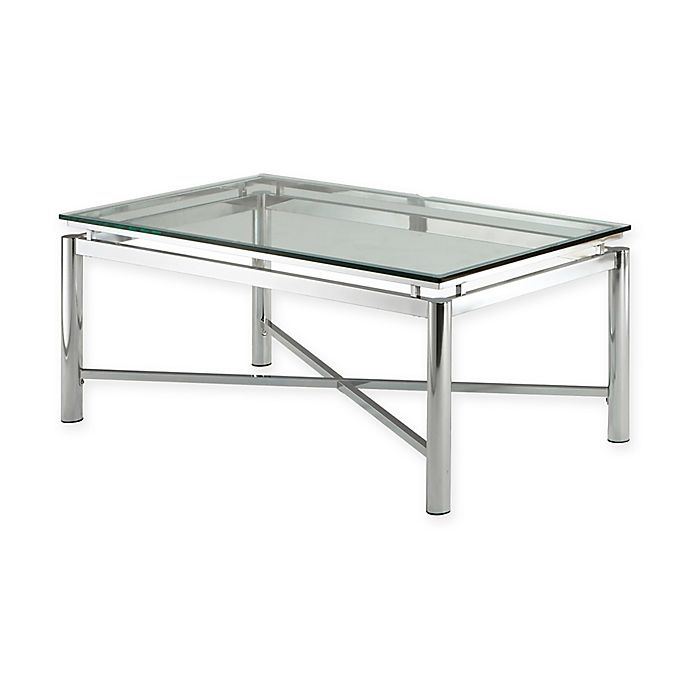 Alternate image 1 for Steve Silver Co. Nova Glass Cocktail Table in Chrome