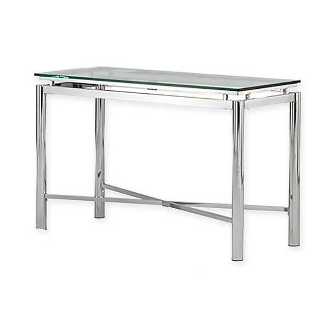 Steve Silver Co Nova Glass Sofa Table In Chrome Bed Bath Beyond