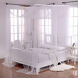 Crystal Sheer 4 Poster Bed Canopy In White