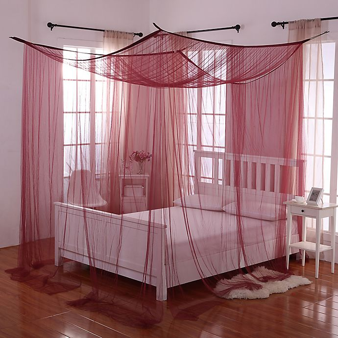 Palace 4 Poster Bed Canopy In Burgundy Bath Beyond