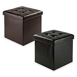 Winsome Trading Ashford Faux Leather Storage Ottoman