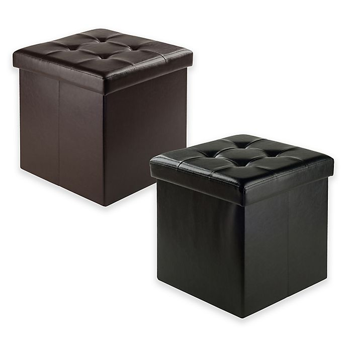 Excellent Winsome Trading Ashford Faux Leather Storage Ottoman Bed Dailytribune Chair Design For Home Dailytribuneorg