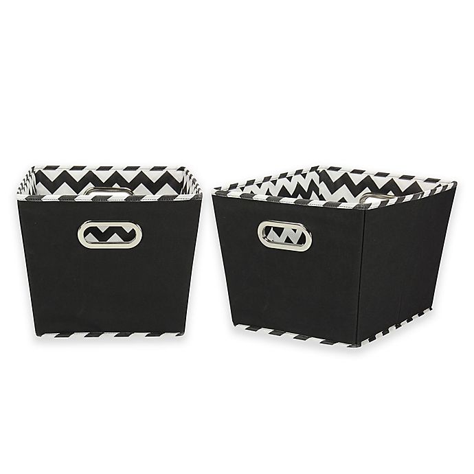 Alternate image 1 for Household Essentials® Tapered Chevron Medium Storage Bins in Black (Set of 2)