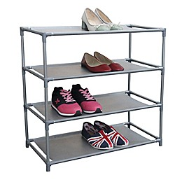 Home Basics Shoe Organizer in Grey Silver