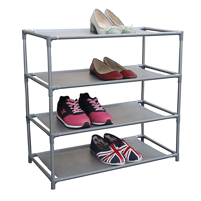 Alternate image 1 for Home Basics Shoe Organizer in Grey Silver