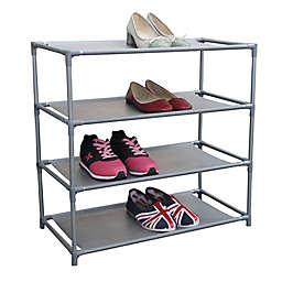 Home Basics 4-Shelf Shoe Organizer in Grey
