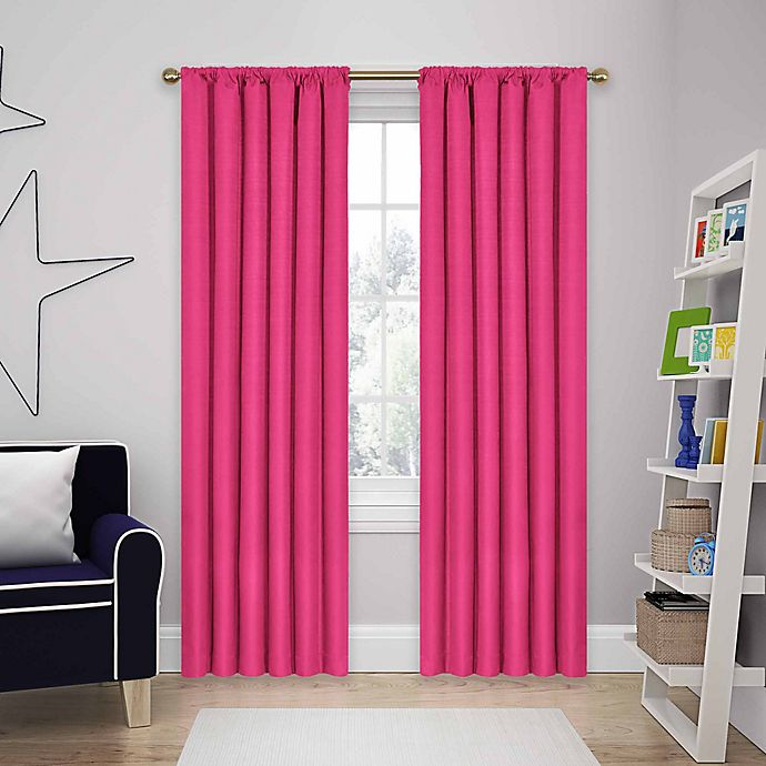 Alternate image 1 for SolarShield® Kate 63-Inch Rod Pocket Room Darkening Window Curtain Panel in Raspberry