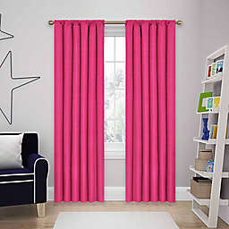Eclipse Kendall 84-Inch Rod Pocket Room Darkening Window Curtain Panel in Raspberry