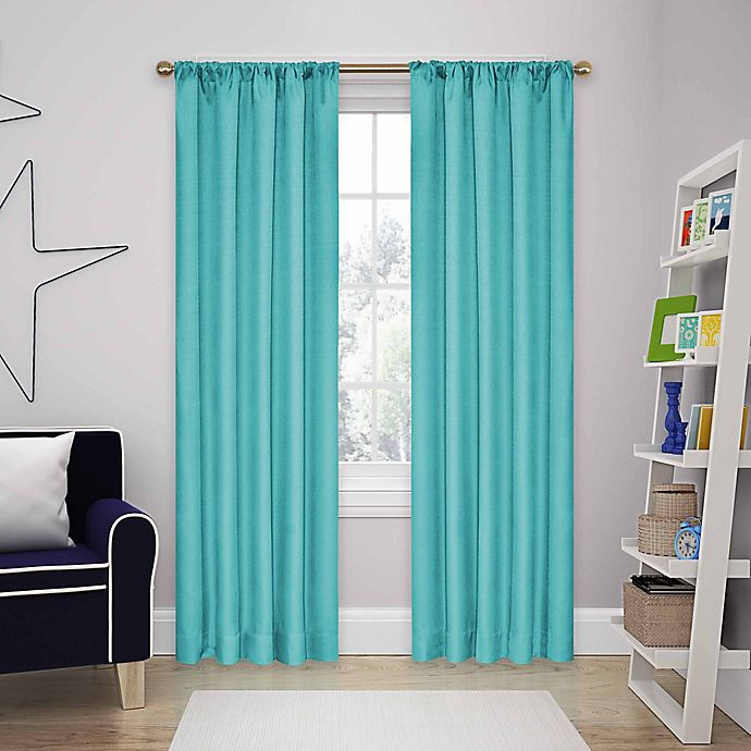Alternate image 1 for Eclipse Kendall 63-Inch Rod Pocket Room Darkening Window Curtain Panels in Turquoise