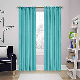 Eclipse Kendall 63-Inch Rod Pocket Room Darkening Window Curtain Panels in Turquoise