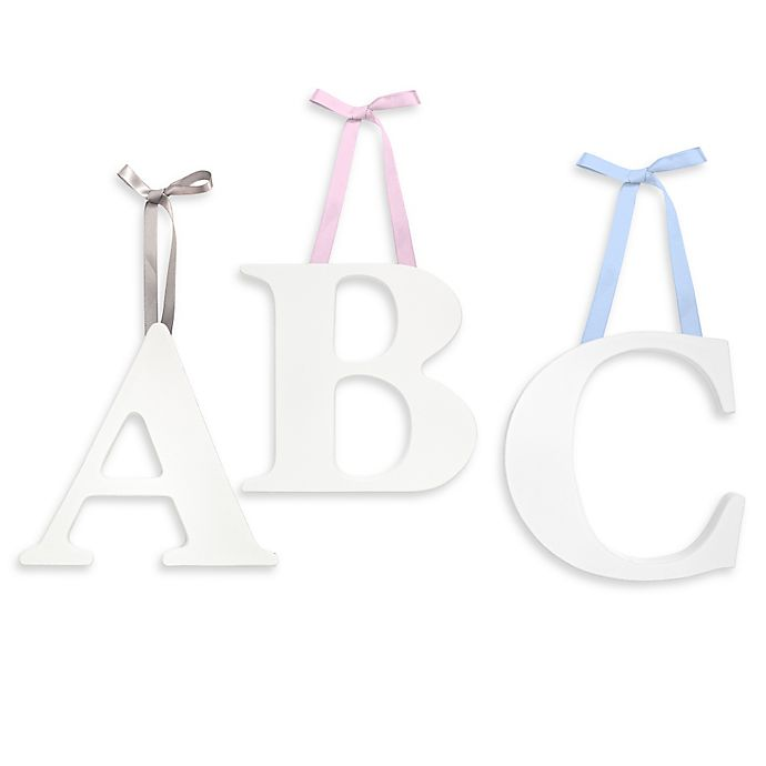 Alternate image 1 for Little Haven White Hanging Wall Letter with Ribbons