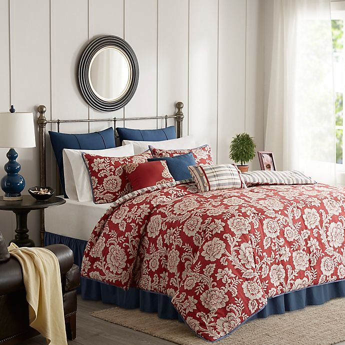 Alternate image 1 for Madison Park Lucy Reversible 9-Piece Queen Comforter Set in Red