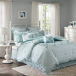 Madison Park Mindy 9-Piece Cotton Percale Duvet Cover Set in Aqua