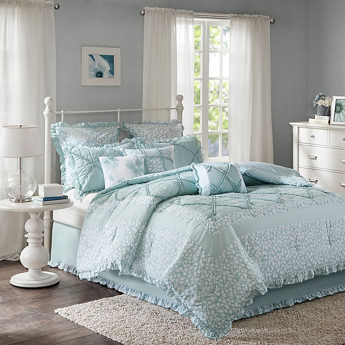 Alternate image 1 for Madison Park Mindy 9-Piece Queen Cotton Percale ComforterSet in Aqua