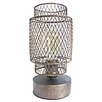 Vintage Metal Cage Table Lamp in Antique Bronze