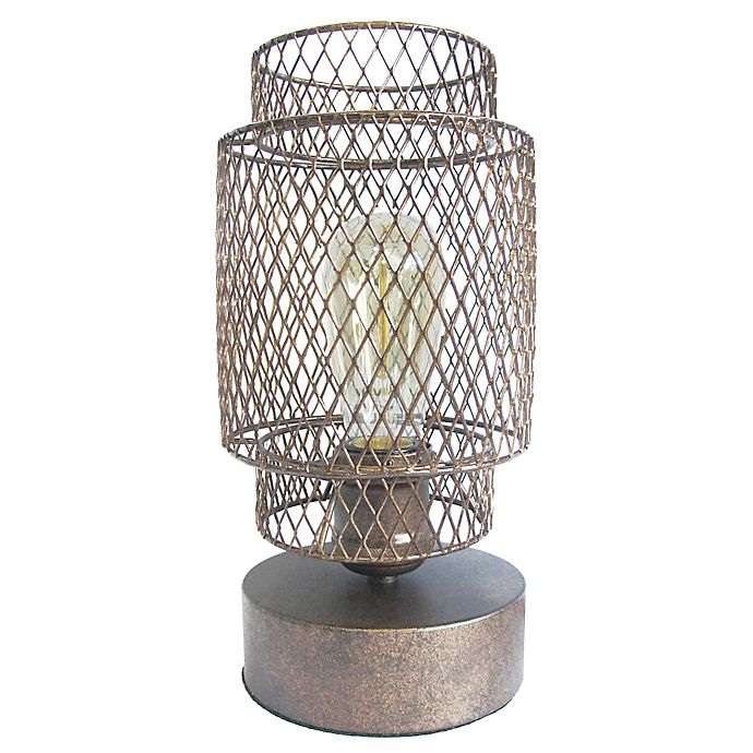 Vintage Metal Cage Table Lamp In Antique Bronze Bed Bath