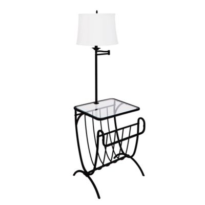 Magazine Rack/Table Lamp in Black