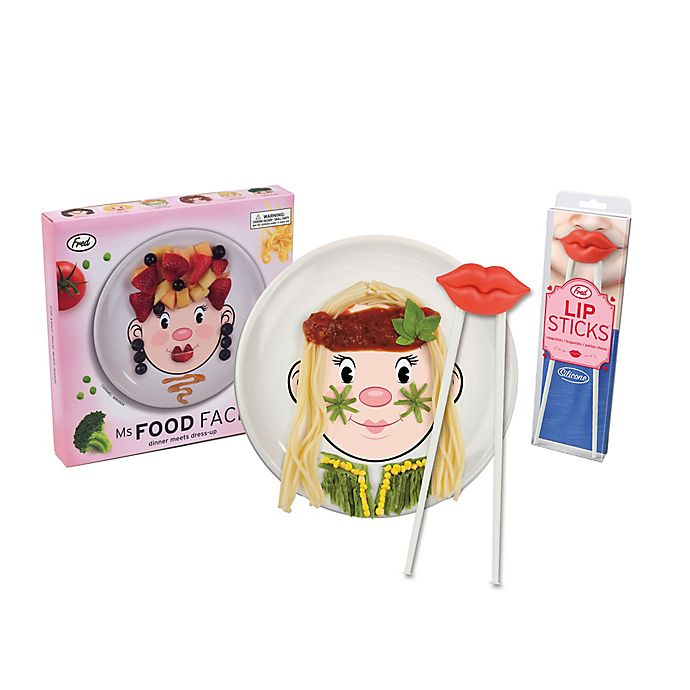Alternate image 1 for Fred & Friends® Ms. Food Face Dinner Plate and Chopsticks