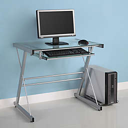 Forest Gate Modern Glass Metal Computer Desk in Silver