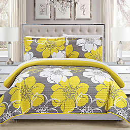 Chic Home Chrysa 2-Piece Reversible Twin Quilt Set in Yellow