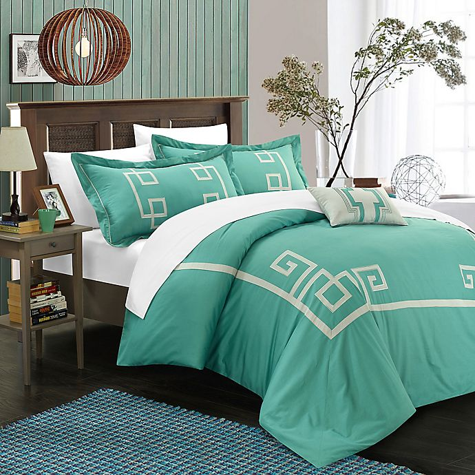 Alternate image 1 for Chic Home Edmonton Queen Duvet Cover Set in Sage