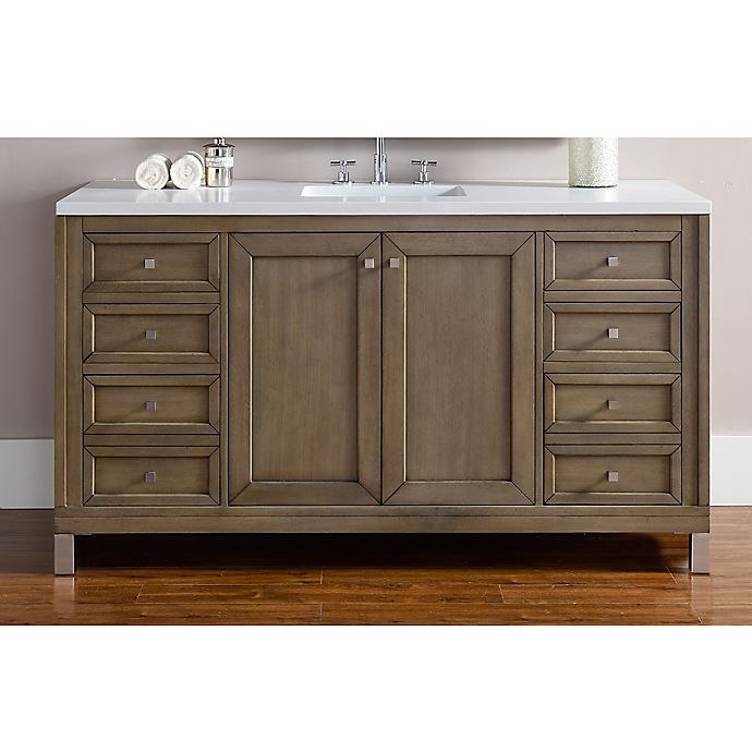 Alternate image 1 for James Martin Furniture Chicago 60-Inch Single Vanity with Quartz Top in Walnut/Snow White