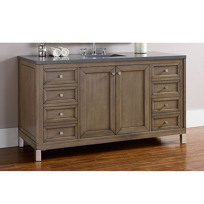 Alternate image 1 for James Martin Furniture Chicago 60-Inch Single Vanity with Quartz Top in Walnut/Grey