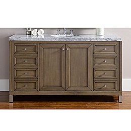 James Martin Furniture Chicago 60-Inch Single Vanity with Marble Top in Walnut/White