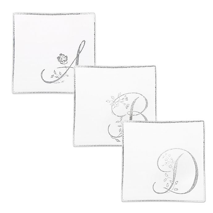 Alternate image 1 for Classic Touch Whimsy Glitter Monogrammed Letter Accent Plates (Set of 2)