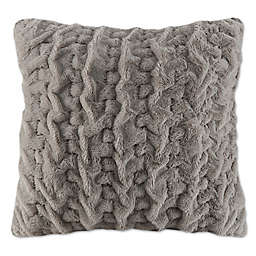 Madison Park Ruched Faux Fur Square European Throw Pillow in Plum
