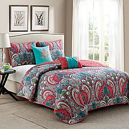 VCNY Casa Re'al Quilt Set in Pink/Turquoise