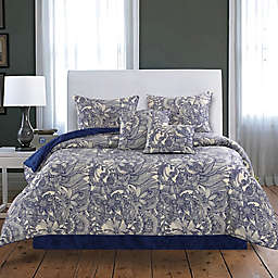 Flowers and Doodles Reversible Comforter Set in Blue