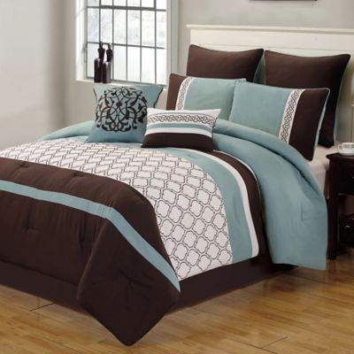 Tolbert 8 Piece Comforter Set in Blue/Brown/Ivory | Bed Bath & Beyond