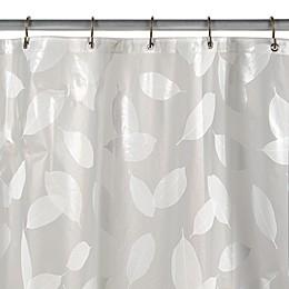 Modern Leaf White Vinyl Shower Curtain