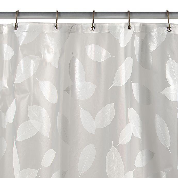 Alternate image 1 for Modern Leaf White Vinyl Shower Curtain