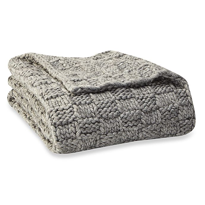Ugg 174 Checkerboard Chunky Knit Throw Blanket Bed Bath