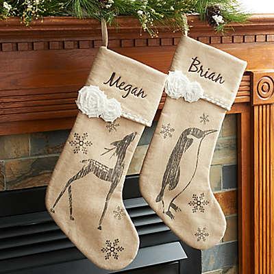 Linen 18-Inch Christmas Stockings