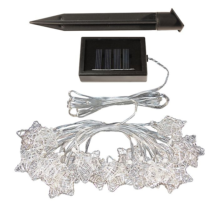 Alternate image 1 for Solar-Powered Silver String Star Lights (20-Count)