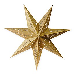 Lumabase 7-Point Star Paper Lanterns in Gold (Set of 3)