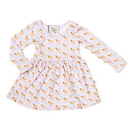 Pickles N' Roses™ Size 6-12M Deer Long Sleeve Knit Day Dress