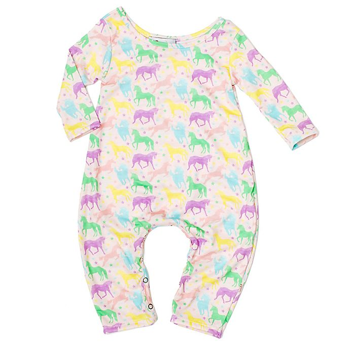 Alternate image 1 for Pickles N' Roses™ Unicorn Long Sleeve Knit Coverall