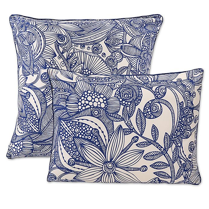 Alternate image 1 for Flowers and Doodles Throw Pillows in Blue (Set of 2)