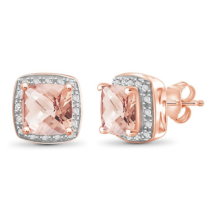 10k Rose Gold 85 Cttw Diamond Accented Cushion Cut Morganite Halo