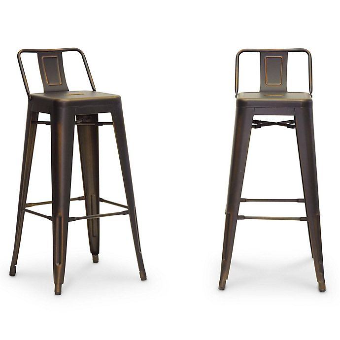 Buy Baxton Studio French Barstool In Antique Copper Set